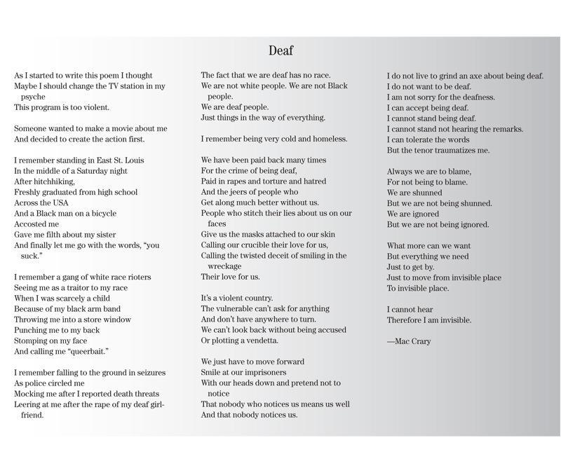 Poem Deaf April 18 2007 Real Change