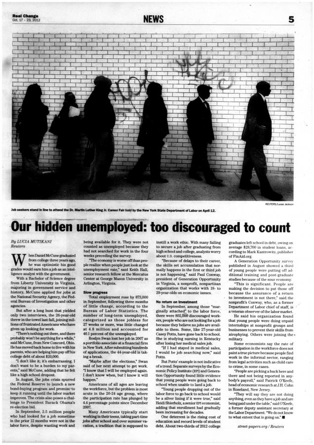 Our hidden unemployed: too discouraged to count | October 17