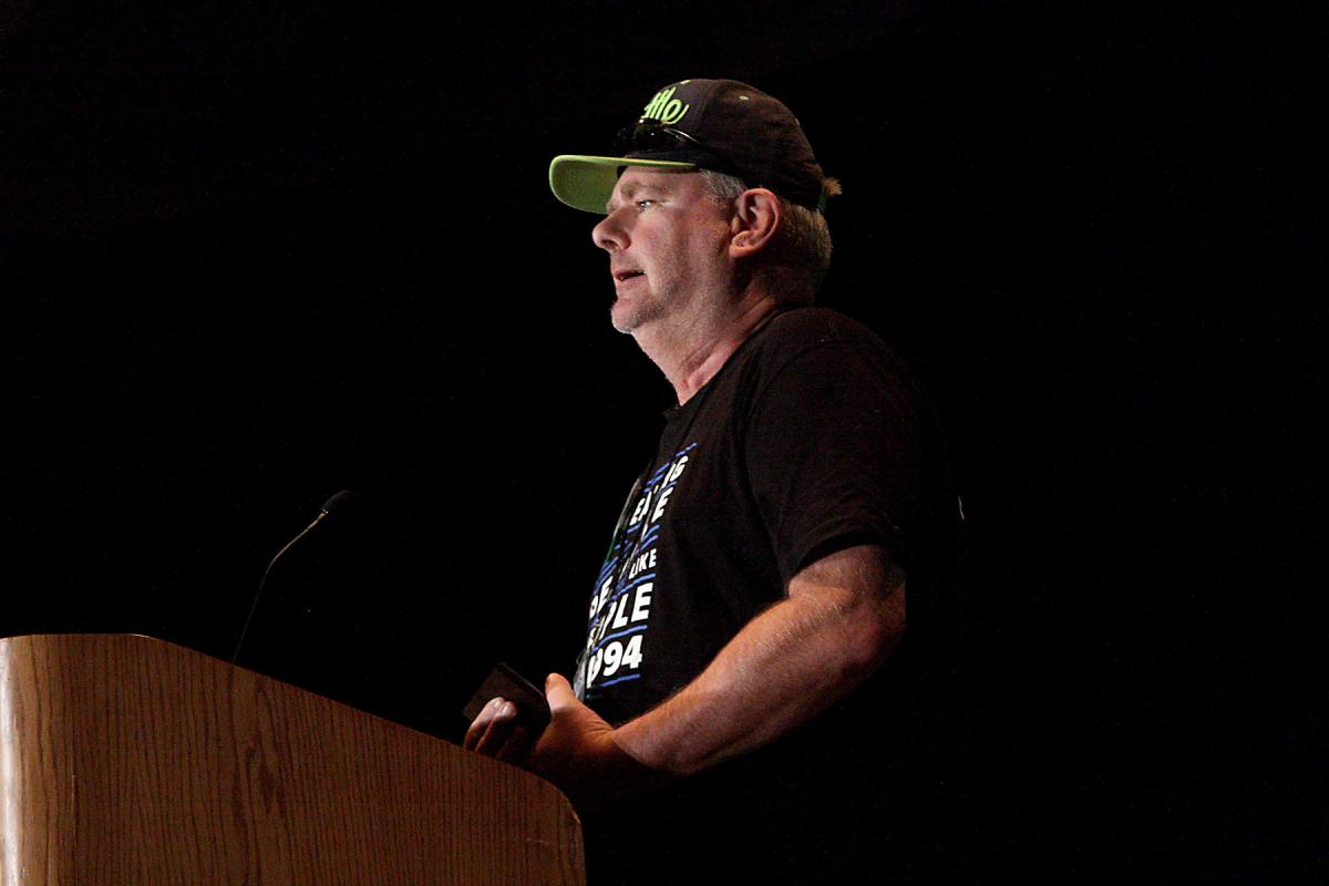 Real Change vendor of the year George Sidwell on stage at the 24th annual breakfast at the Washington State Convention Center on Sept.18. Photo by Jon Williams