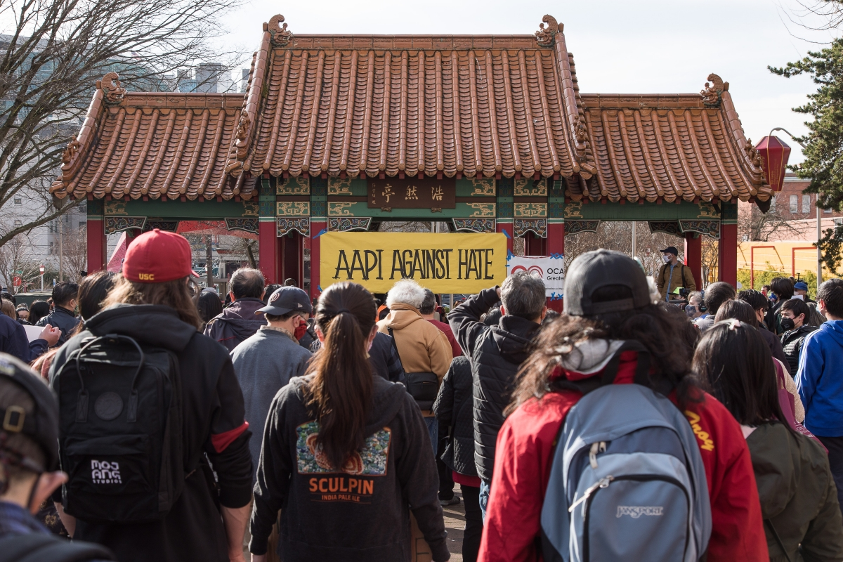 Participants gather at the pavilion in Hing Hay Park, within Seattle's Chinatown–International District. Photos by Lisa Hagen Glynn