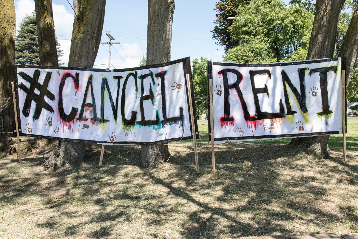 Organizers held the Cancel the Rent rally in Othello Park, in southeast Seattle, June 5. Photos by Lisa Hagen Glynn.
