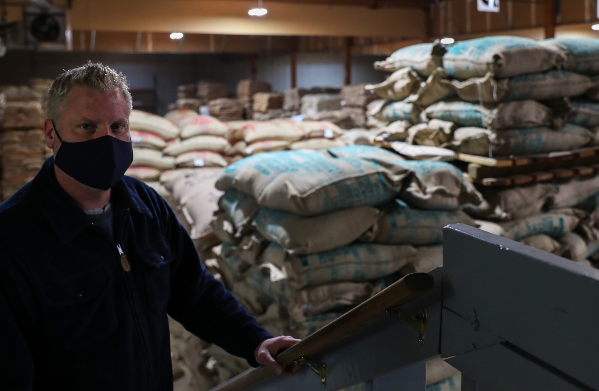Rob Hitztaler, The Green Room's operations manager, pauses for a photo Dec. 1, 2020. Hitztaler said the pandemic did not slow his coffee production, but rather he saw a change in his coffee inventory from his commercial and specialty coffee clients