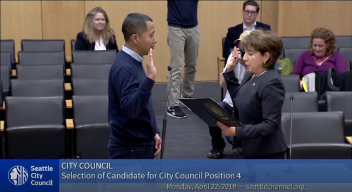 Abel Pacheco was sworn into office Monday April 22. Screenshot from seatlechannel.org
