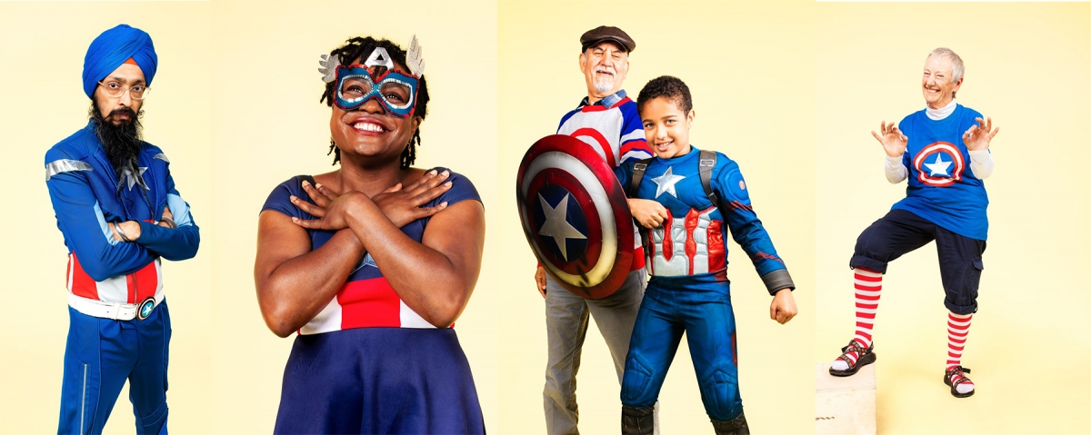 From left: Vishavjit Singh, cartoonist, speaker and performance artist; Cassandra Jackson, customer avenger and traveler; Rafi and Ali Samizay, grandfather and grandson born on July 4th; Gay Lloyd Pinder, speech language pathologist. Photos by Nate Gowdy