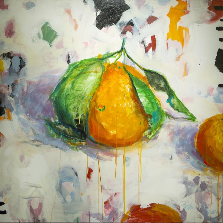"""Satsuma 1"" by Cheryl Zahniser, acrylic painting, 40x40. Photo by Jeff Guzman"