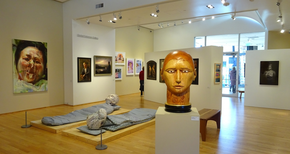 "Gallery view of ""Face First"" at Bainbridge Island Museum of Art. Photo by Lisa Edge"