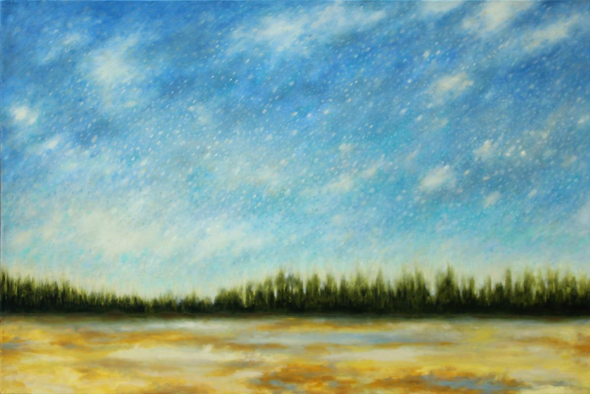 """Blue Sky for Days"" by Sheri Bakes, oil on canvas at Foster/White gallery."