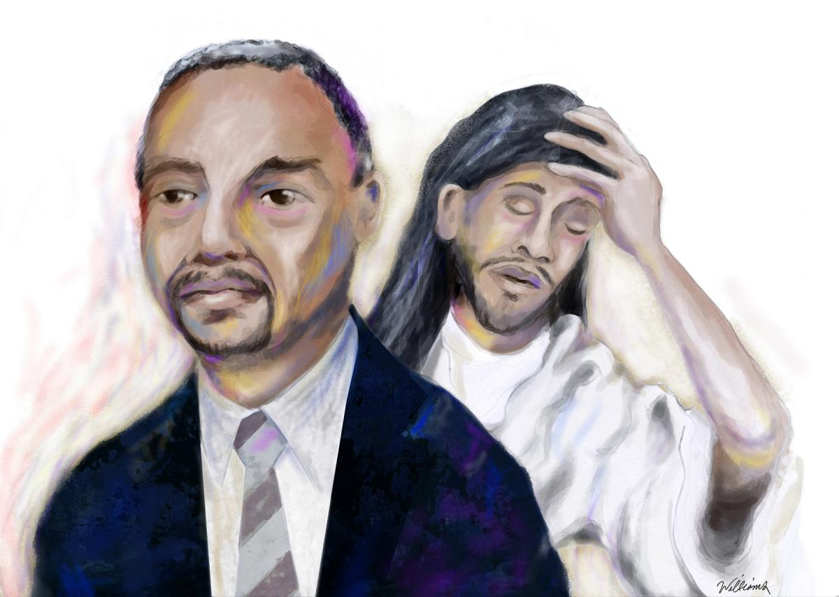 Illustration of Ben Carson and Jesus by Jon Williams, Real Change
