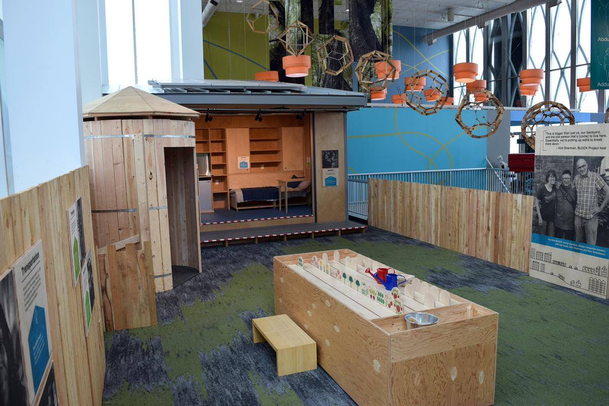 """Block by BLOCK."" installation view. A BLOCK home is 125 sqare feet, off grid and self sufficient. Photo courtesy of the Pacific Science Center"