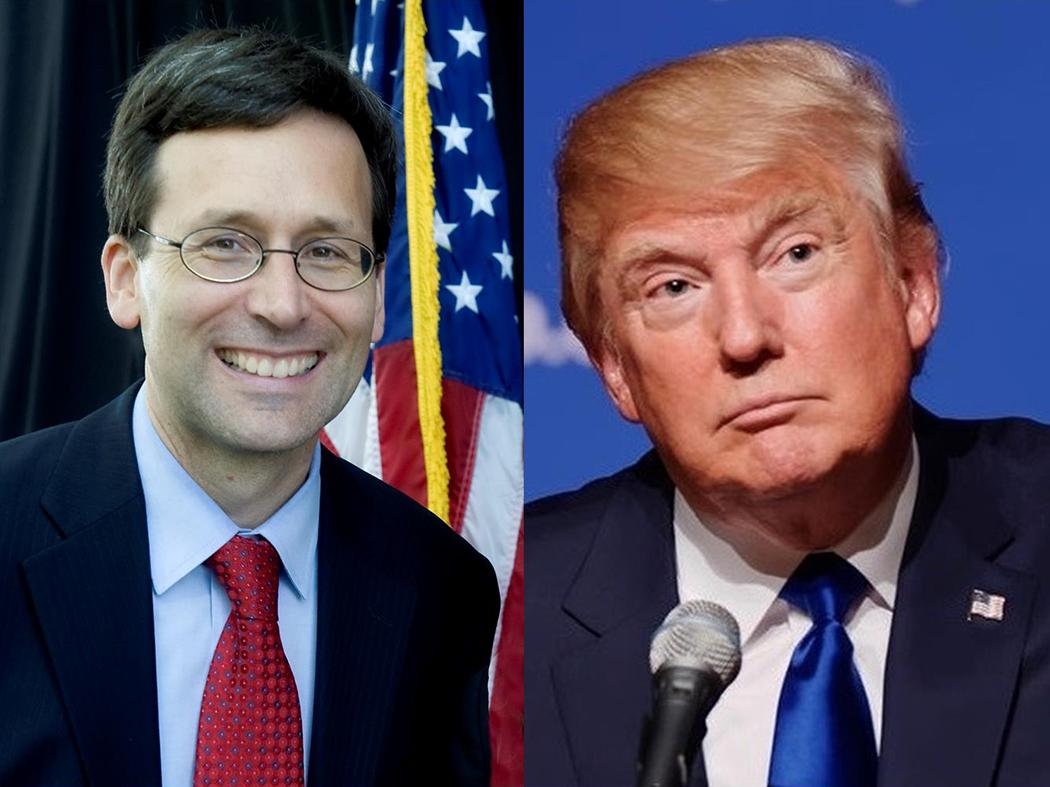 From left, Washington State Attorney General Bob Ferguson, President Donald Trump