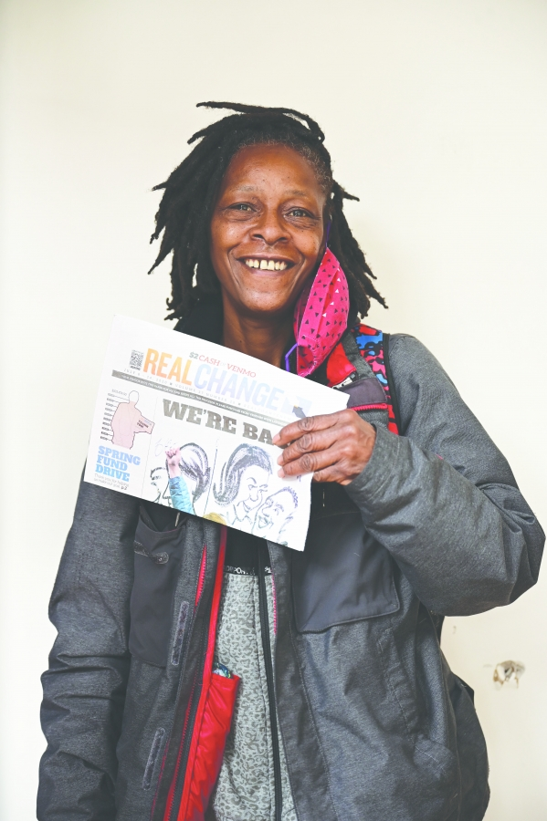 Real Change vendor Janice Dampier. Photo by Ace Azul