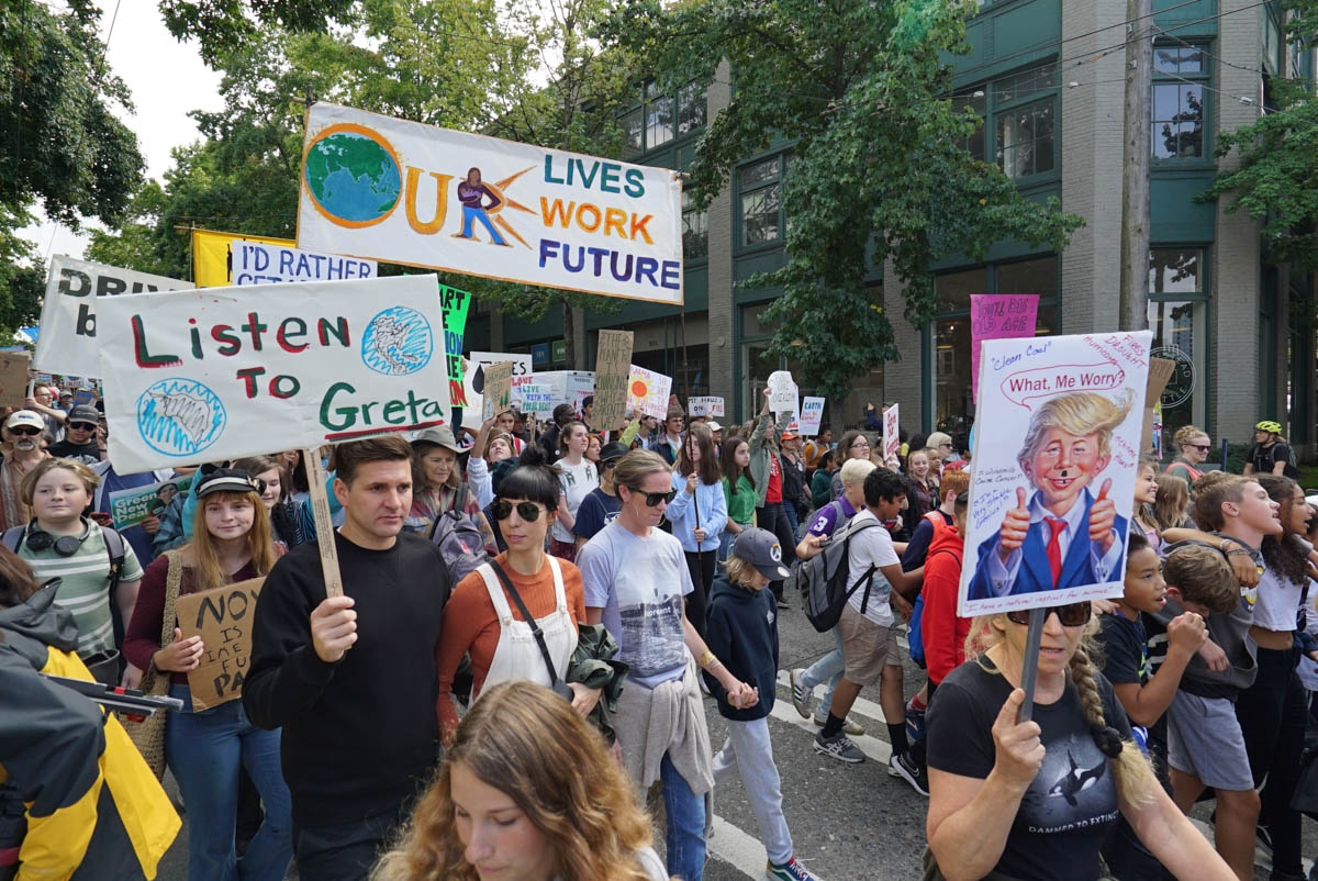 Thousands of young people and adult allies march  from Cal Anderson Park to Seattle City Hall on Friday Sept. 20 to show support for the Climate Strike being held all over the world to bring attention to  climate change. Photo by Susan Fried