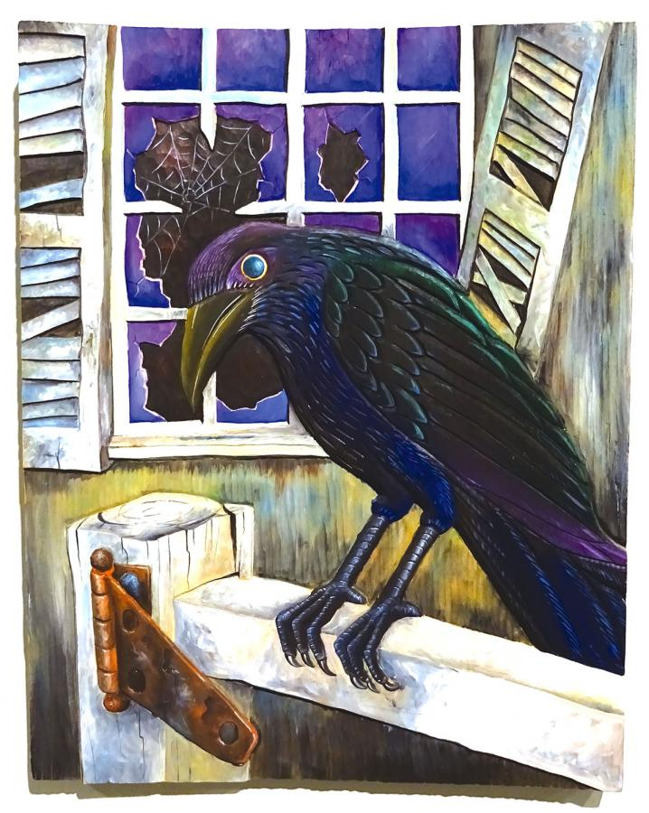 """""""The Foot Warmer and the Crow"""" illustration, acrylic on wood, 1994"""