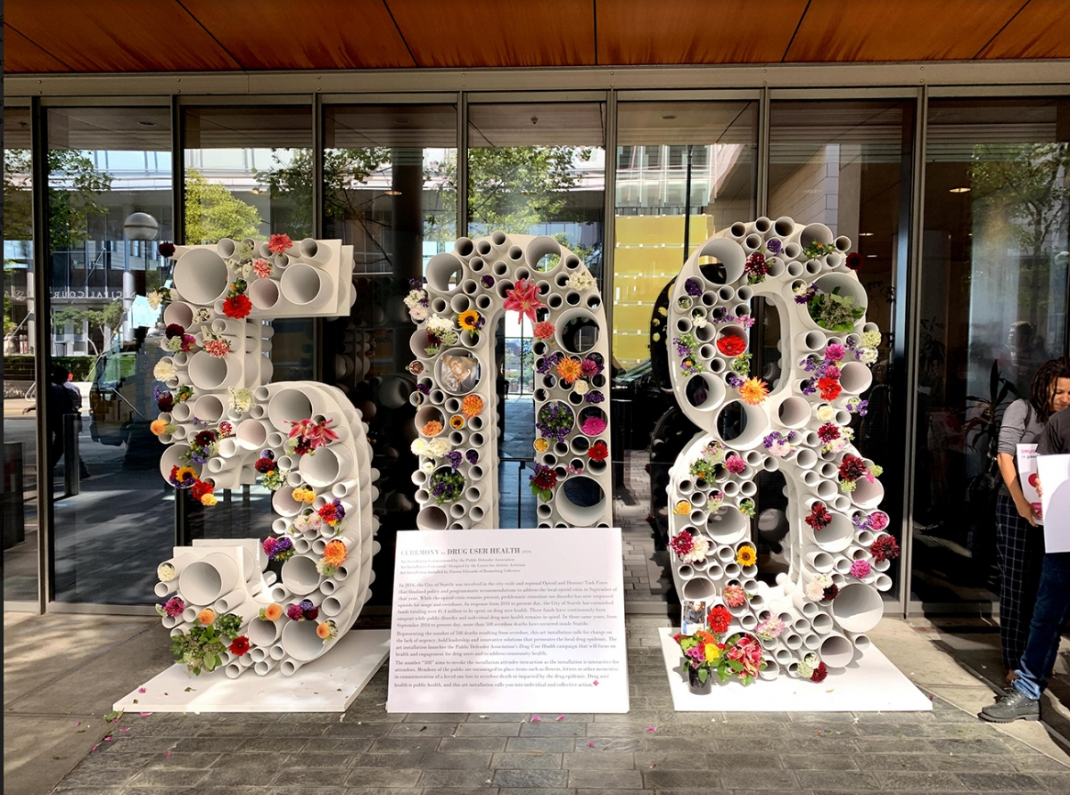 An art installation at Seattle City Hall serves as a memorial to the 508 people who have died of drug overdoses since September 2016. Photo by Tim Harris
