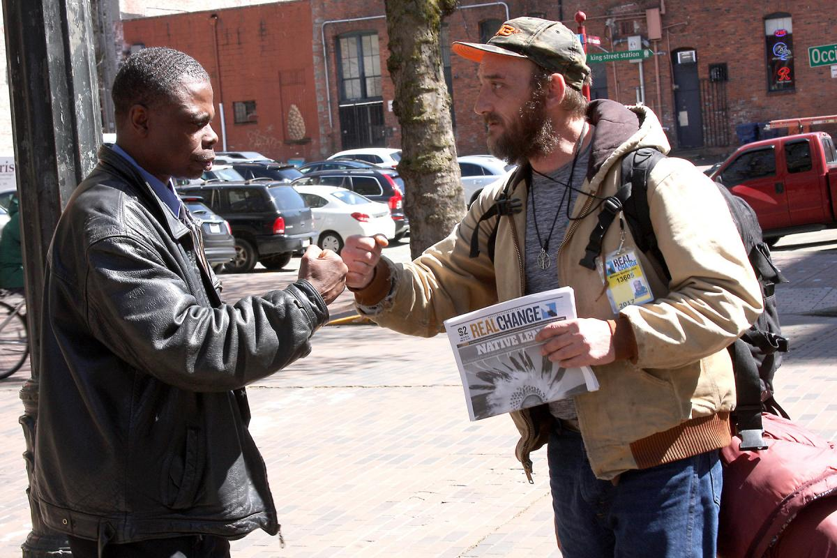 Donald Morehead works with another vendor in Occidental Square.
