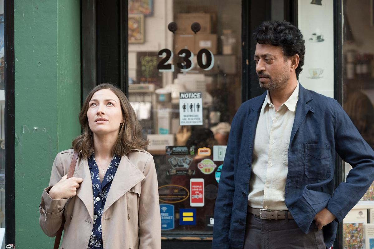 Left to right: Kelly Macdonald as Agnes and Irrfan Khan as Robert. Photo by Linda Kallerus, courtesy of Sony Pictures Classics