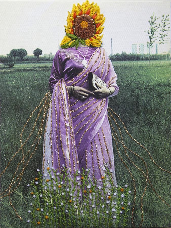 """Clue Desi Honeymoon I"" by Samina Islam, needlework and glass beads on inkjet on canvas"