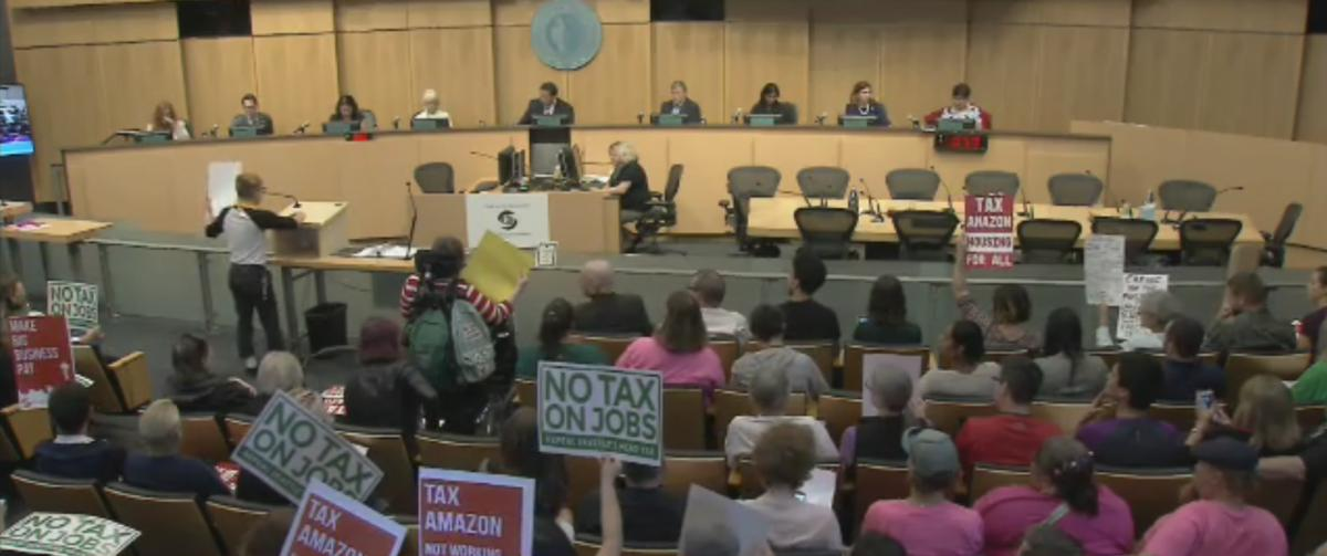 On June 12 Seattle City Council voted to repeal the Employee Hours Tax. Screenshot of Seattle Channel broadcast of the meeting.
