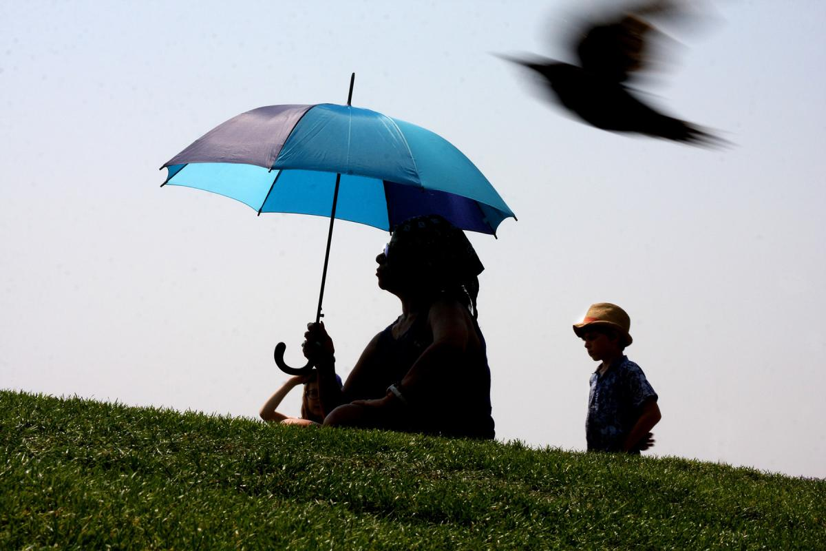 Brazil the dance was sitting under her umbrella at Victor Steinbrueck Park Thursday afternoon while the thermometer was edging toward 90 degrees. Photo by Jon Williams