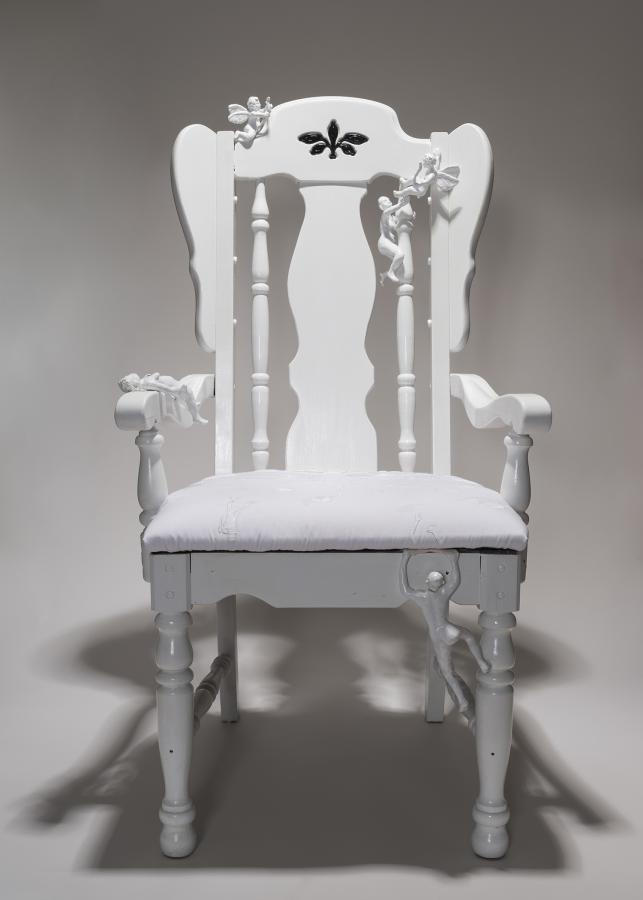 """Throne of Equality"" by Heather Marie Scholl, hand embroidery on cotton, polymer clay and wood, 2017"