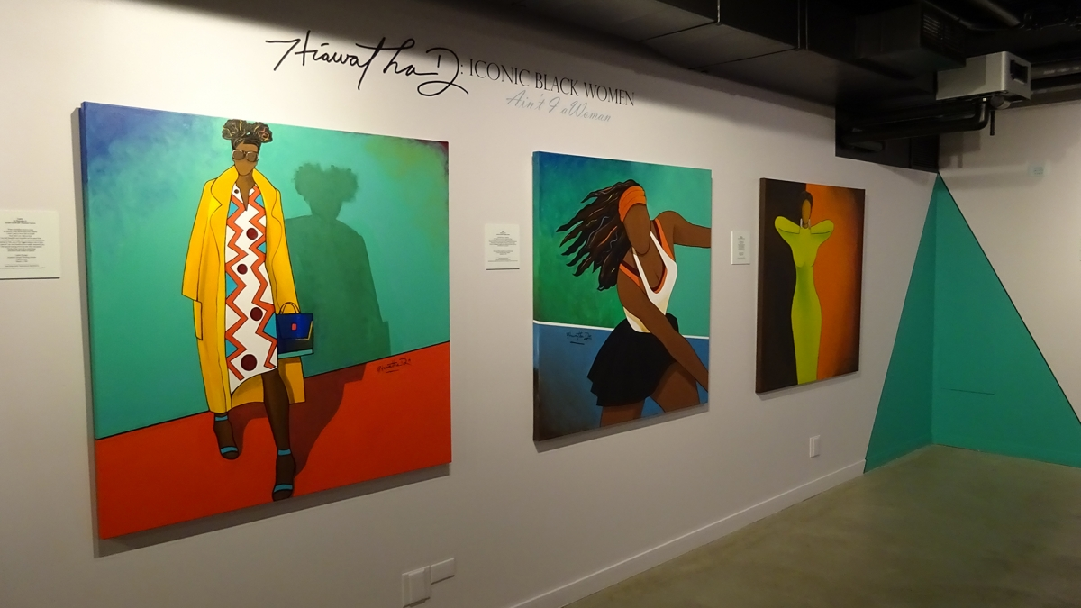 "Gallery view of ""Iconic Black Women: Ain't I a Woman"" by Hiawatha D. at Northwest African American Museum. Photo by Lisa Edge"