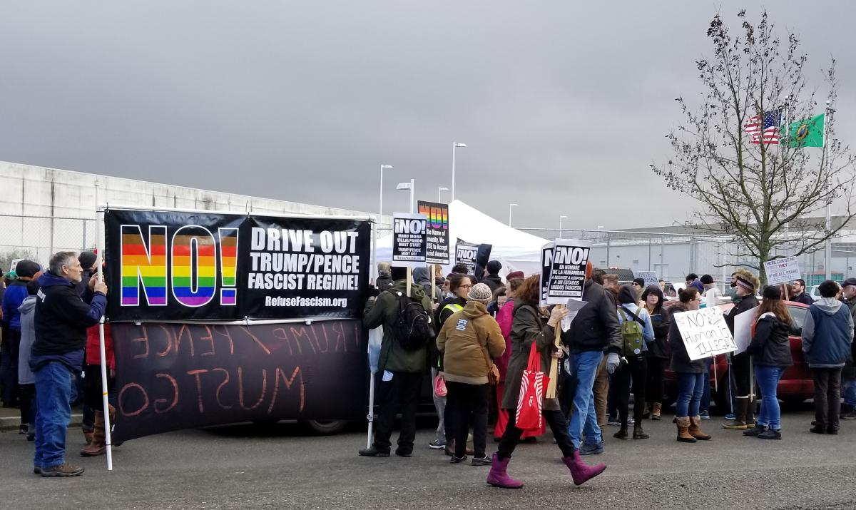 On Sun. Feb. 4 the People's Tribunal protested at the Northwest Detention Center in Tacoma. Photo by Ashley Archibald