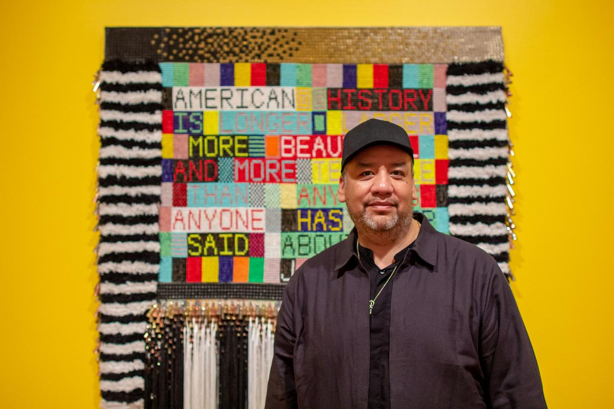 Jeffrey Gibson. A survey of his work is on display at Seattle Art Museum until May 12. Photo by Jessica Goehring.