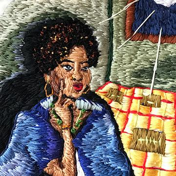 """Night Life,"" 2016, embroidery by Julia Fioravanti"