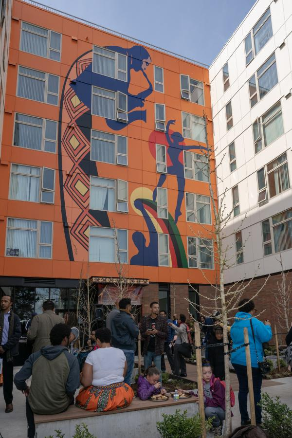 Community members gathered on March 23 to celebrate the grand opening of the Liberty Bank Building, a 115-unit affordable housing complex built on the site of the first Black-owned bank in the PNW. Photo by Jeff Few.