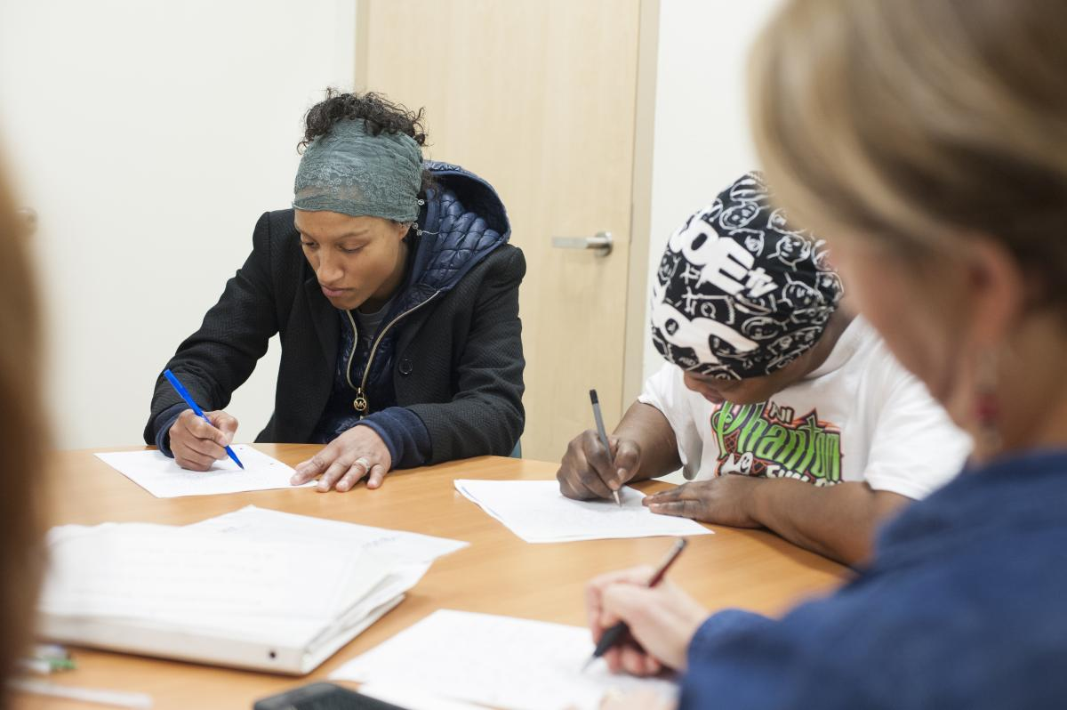 Members of Mary's Place writers' group participate during a recent Wednesday session.
