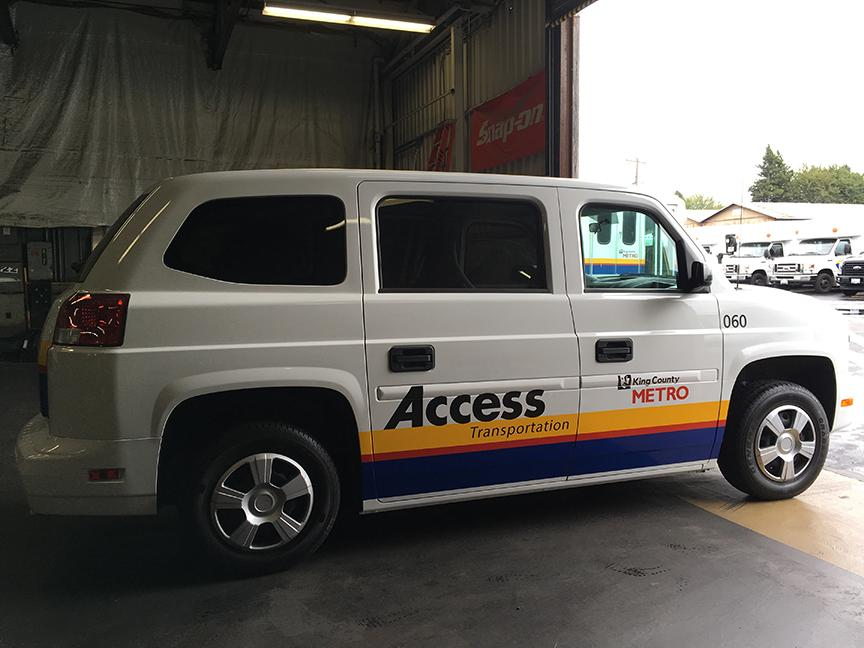 The new MV1 Access vans cannot fit some standard wheelchair sizes and are hard for people using walkers. Photo by Susan Koppelman