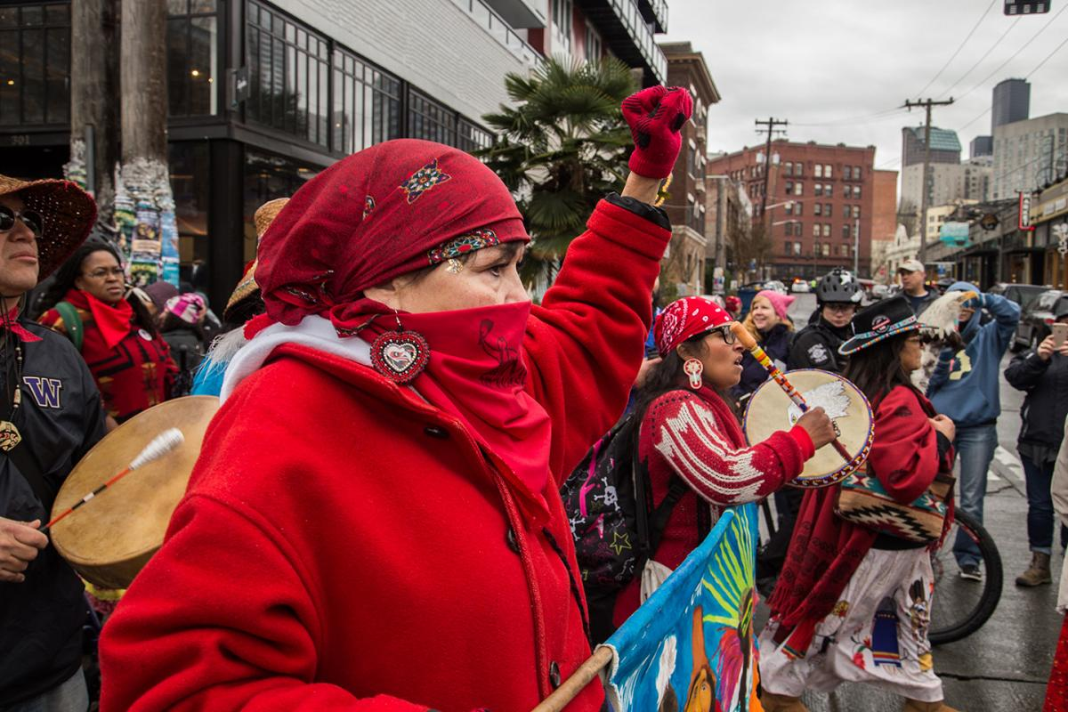 Missing and Murdered Indigenous Women Washington led the Seattle Womxn's March in 2018. File photo by Matthew S. Browning