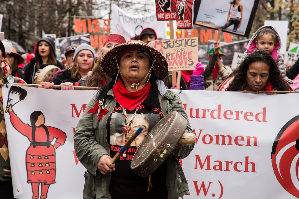 Roxanne White from the Missing and Murdered Indigenous Women Washington leads the Womxn's March in Seattle Jan. 20. Photo by Matthew S. Browning
