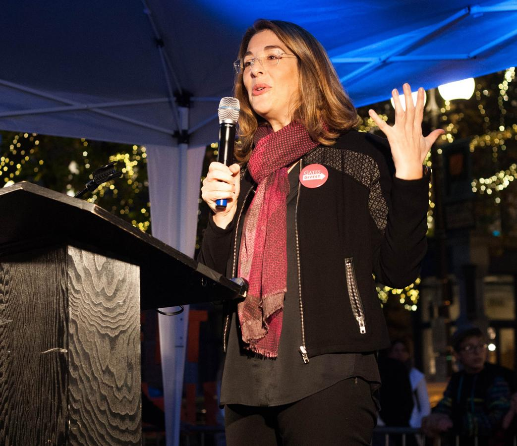 "Naomi Klein speaks in Seattle in Oct. 2015. Her new book, ""No Is Not Enough"" critiques strategies for resisting President Donald Trump and offers new solutions. Photo by Martha Tesema."