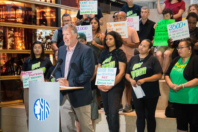 Seattle City Councilmember Mike O'Brien held a press conference before the July 22 vote on placing limitations on the revenue from the Sweetened Beverage Tax. He is in support of placing restrictions on where the money is used. Photo credit: Seattle City
