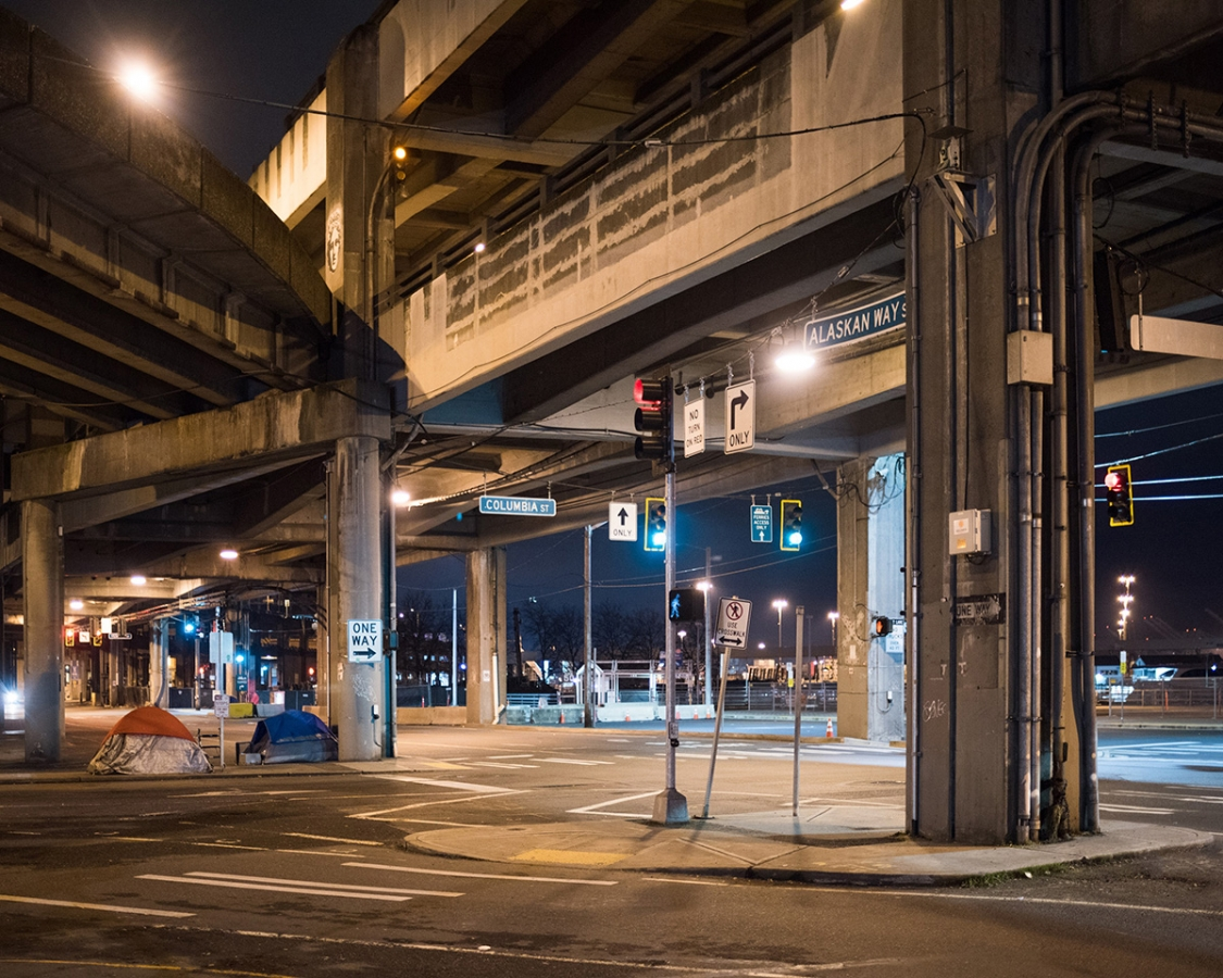 Tents line up under the Alaskan Way viaduct during the point-in-time count in January 2017. File photo by Andrew Waits