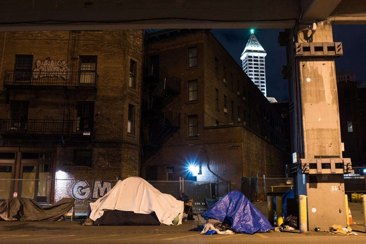 Campers under the viaduct, Jan. 2017. File photo by Andrew Waits