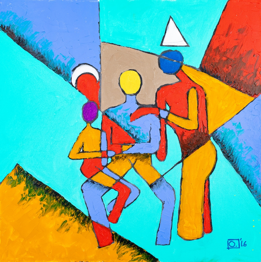 """Family Construct"" by Osa Elaiho, acrylic on canvas, 2016."