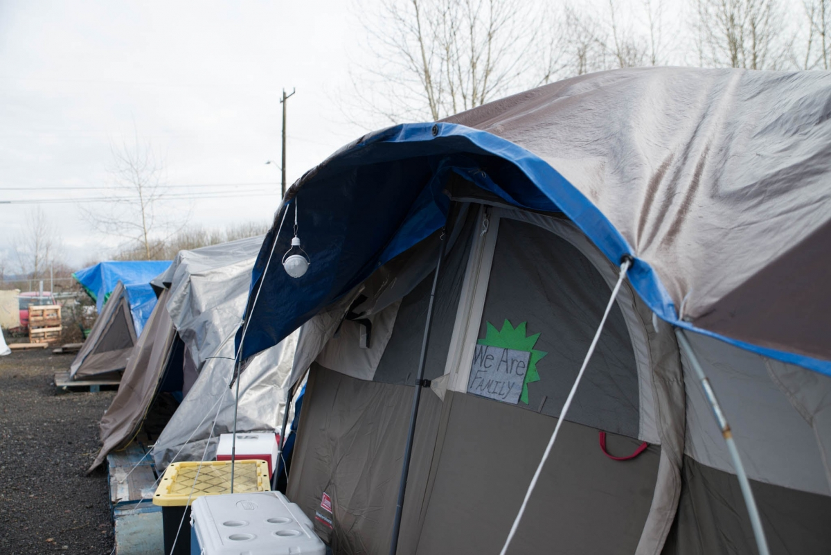 "Camp Second Chance in West Seattle isn't allowing nonresidents in to the camp. They have plenty of food. Site coordinator Eric Pattin said, ""... if anything, it's brought us more together."""