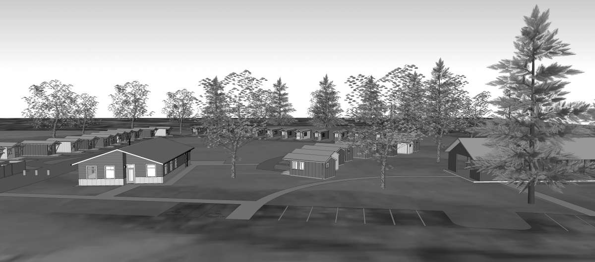 Orting Veterans Village, a modular home development by Quixote Communities, will provide long-term housing to formerly homeless veterans. Rendering by MSGS Architects