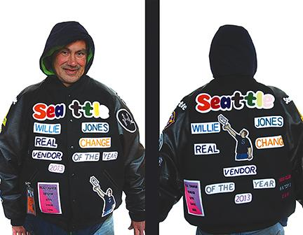 When Real Change vendor Willie Jones was crowned the 2103 Vendor of the Year, he made a jacket honoring himself.
