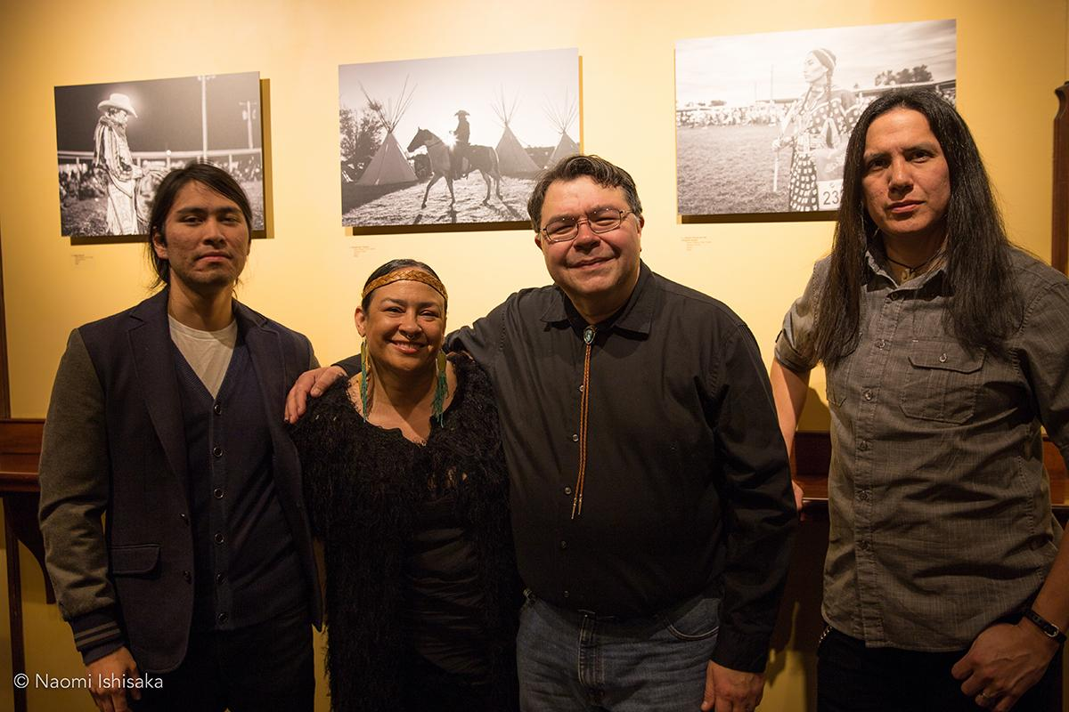 From left, Kalen Goodluck, Tracy Rector, John Fedorov, Adam Sings In The Timber. On launch night, Federov presented a group exhibition on resistance to the Dakota Access Pipeline in solidarity with the Standing Rock. Photo by Naomi Ishisaka
