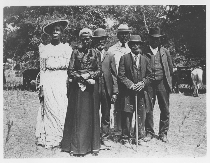 A group poses for a photograph at a Juneteenth celebration, which was called Emancipation Day at the time, in Austin, Texas, in 1900.