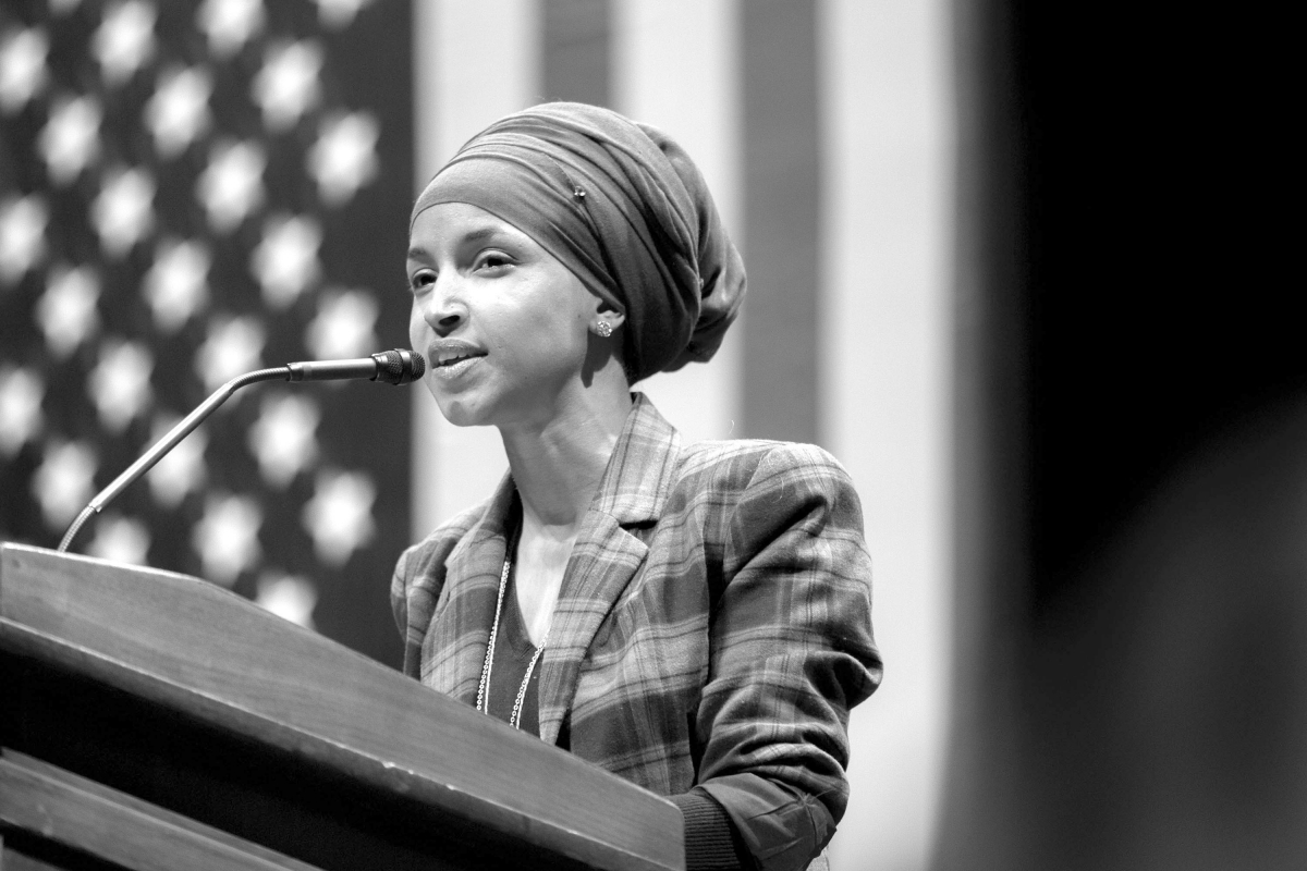 "Candidate for Minnesota Rep. Ilhan Omar speaks at a ""Hillary for Minnesota"" event at the University of Minnesota in October 2016. Photo by Lorie Shaull"