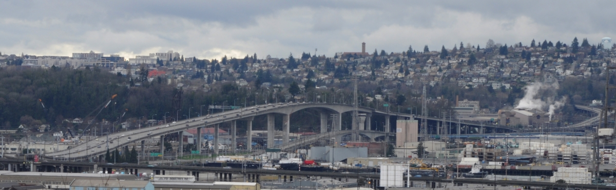 The West Seattle Bridge can be seen from vantage points across Seattle, Washington, like here from the 12th Avenue South Viewpoint on Beacon Hill, while in use.