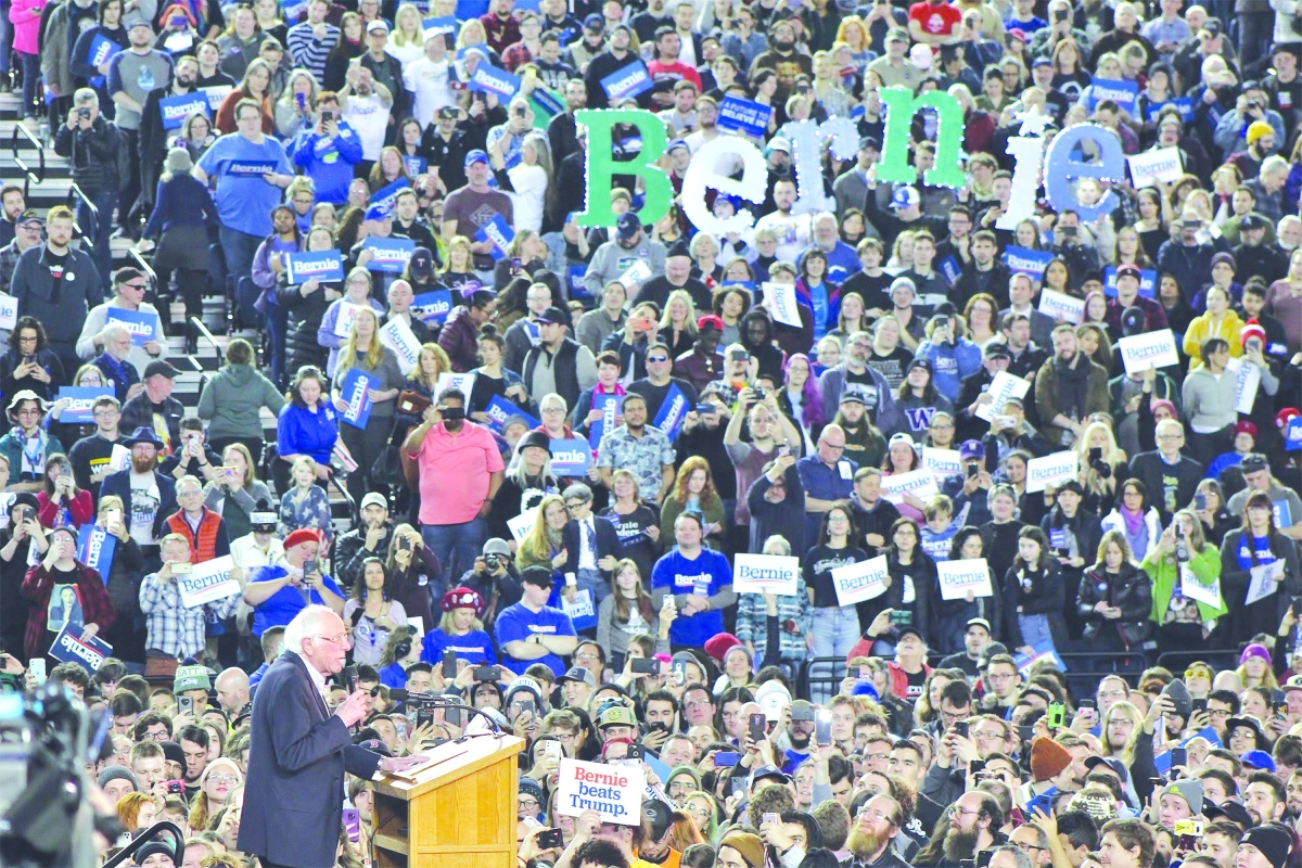 Sen. Bernie Sanders speaks to a large crowd at the Tacoma Dome on Feb. 17.