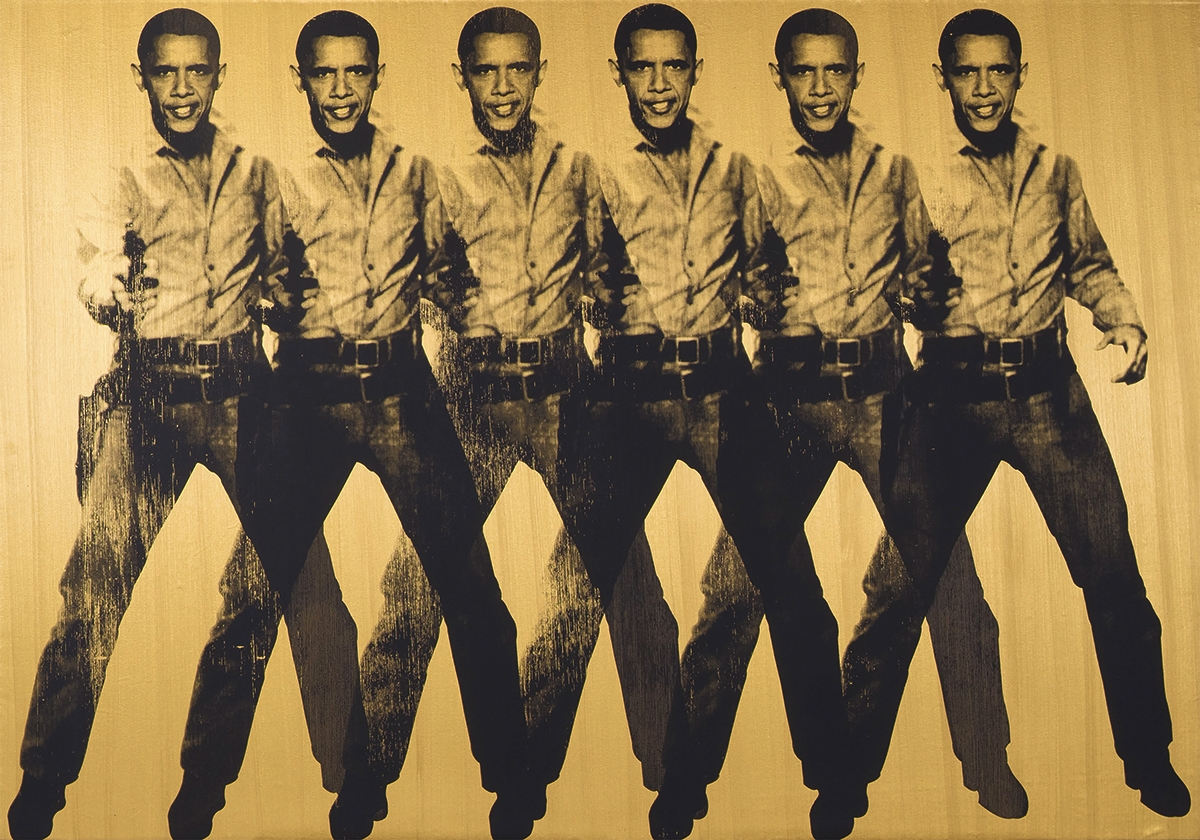 "Rotated in Barack Obama for Elvis Presley in ""Obama Cowboy, Six-Shooter,"" 2012"