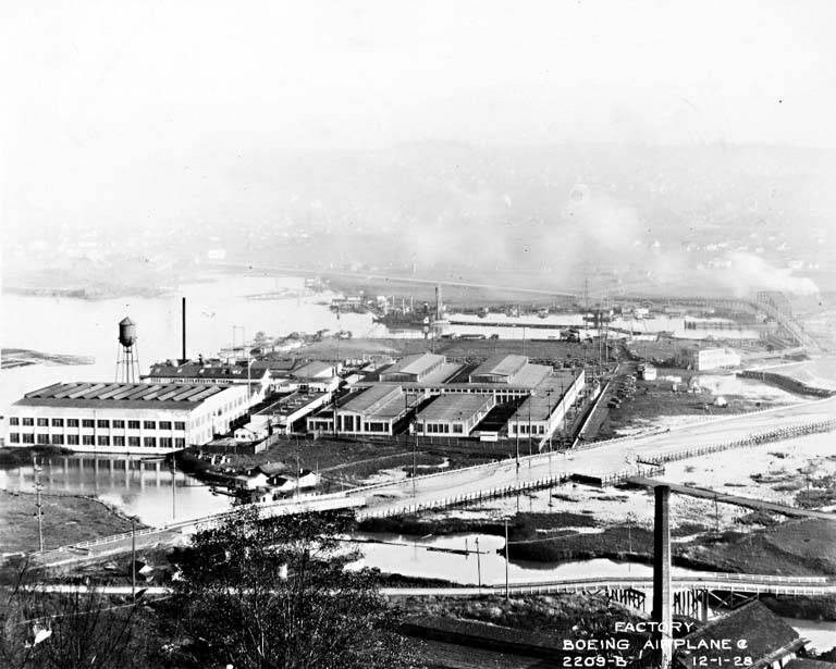 The Boeing factory along the Duwamish in 1928. The river was added as a Superfund site in 2001 because of extremely high levels of polychlorinated biphenyls (PCBs), which were banned in the U.S. in 1979.