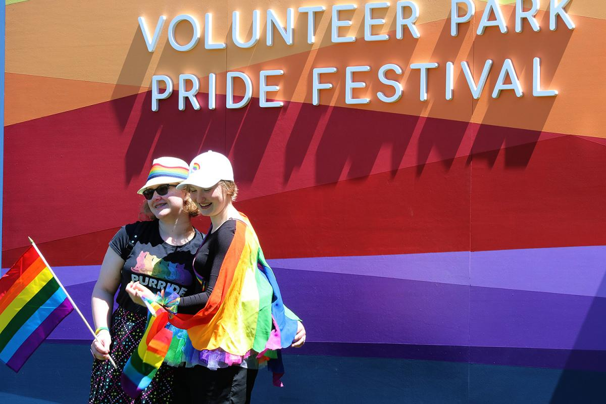 Eva Villavicencio and Amelia Rees of Lynnwood are decked out in their pride colors at the annual Pride Fest in Volunteer Park on Saturday June 8. Photo by Jon Williams