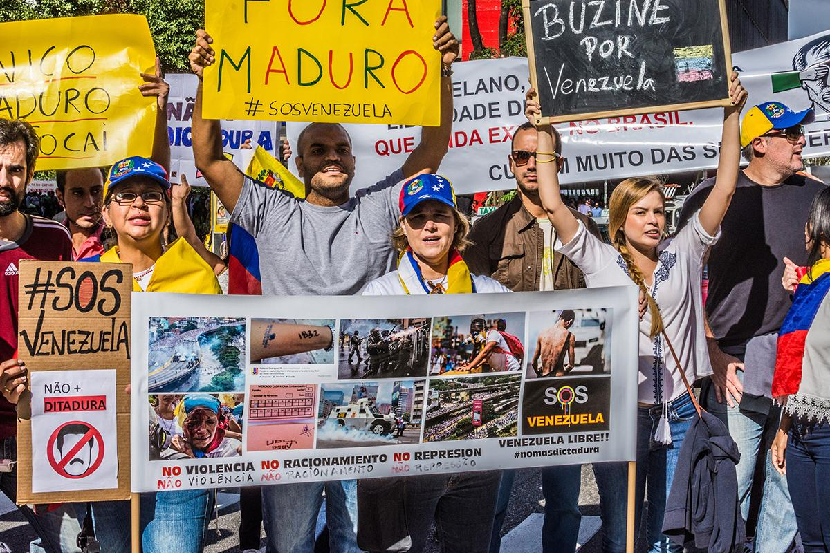People in Sao Paulo, Brazil, turned out to protest Venezuela's Bolivarian Revolution earlier this month. Many leftist governments in South America are struggling. Photo courtesy of Wikipedia